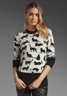 10 CROSBY DEREK LAM - Kitty Print Pullover in Black/Soft White. I love the cat sweater with leather pants look.