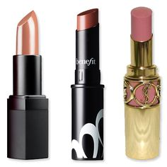 "3 best nude lipsticks per InStyle:   ""If you have fair skin, go for a peach or pink nude like Benefit's Silky Finish Lipstick in Skinny Dip ($18; benefitcosmetics.com),"" says makeup artist Joette Balsamo. ""Those with medium skin should look for a pink or mauve-toned nude. The YSL Rouge Volupte in Nude Beige ($34; yslbeautyus.com) is good, and people with dark skin look best in caramel tones like the NARS Honolulu Honey lipstick ($24; narscosmetics.com). I always do a similar chic caramel on ..."