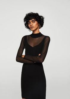 Dress with transparent inserts Sheer Shirt, Sheer Dress, Mob Dresses, Short Dresses, Vestidos Mob, Mango Outlet, Mango France, Long Sleeve Short Dress, Perfect Little Black Dress