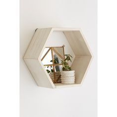 Honeycomb Wood Shelf (5495 RSD) ❤ liked on Polyvore featuring home, home decor, small item storage, white, wooden home decor, wall book shelf, wall mounted book shelf, white wall shelf and white home decor