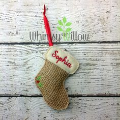 Stuffed Stocking Ornament ITH Embroidery Design