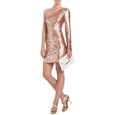 Lyn One-Shoulder Sequined Cocktail Dress ($338) ❤ liked on Polyvore