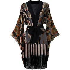 Agent Provocateur Mistie Kimono Black/Multi ($660) ❤ liked on Polyvore featuring intimates, robes, dresses, lingerie, outerwear, kimono, black, gowns & kimonos, nightwear and vintage dressing gown