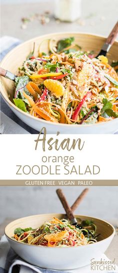 Asian Orange Zoodle Salad / This healthy zucchini noodle salad is a great way to mix up your summer salads. A creamy tahini dressing packs in the flavor. | SUNKISSEDKITCHEN.COM | #asian #salad #zoodle #rawnoodles #spiralizedzucchini