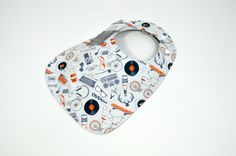Baby Bib, boy, bib, grey, orange, antlers, ties, dogs, records, bikes, headphones, sneakers, phone, music, guitar, skateboard, fits 3mth-2ys by TextileTrolley on Etsy