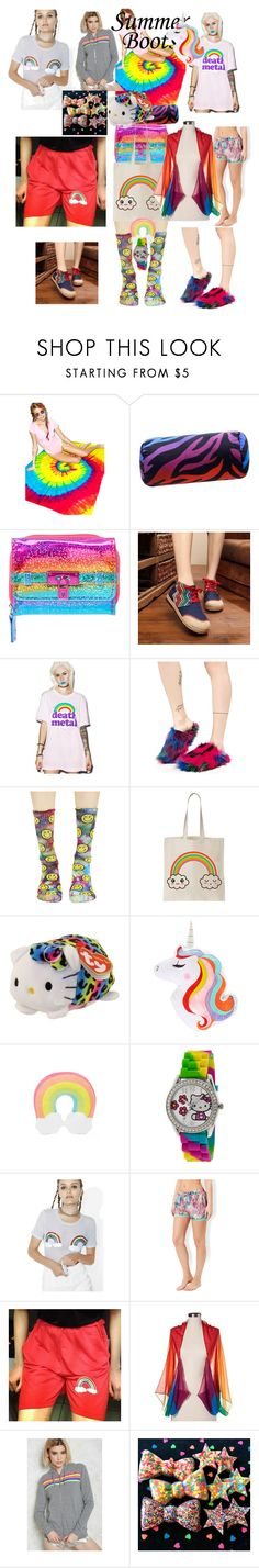 """""""Rainbow ready Rita"""" by lerp ❤ liked on Polyvore featuring Colortone, Karin Maki, Goodie Two Sleeves, Lust For Life, HUF, Hello Kitty, Forever 21, Glamorous, Accessorize and Merona"""