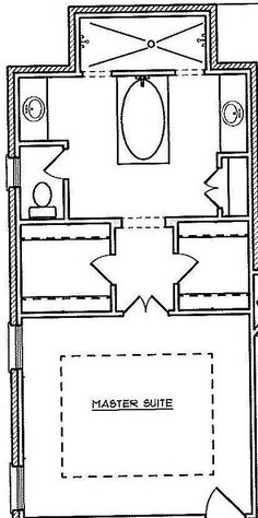MASTER SUITE LAYOUT Another Option No Tub, Separate Closets, Dressing Table  And Separate Sinks