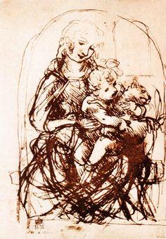 Leonardo da Vinci - Study of the Madonna and Child with a Cat - 1478