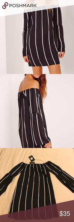 Black and white striped off the shoulder dress Cute and casual dress with sleeves perfect for fall! UK size 12, US size 8. Never worn before and in perfect condition! Missguided Dresses Long Sleeve