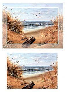 Decoupage Variadas 5 - Mary. XIX - Picasa Web Albums Sea Beach Images, Seaside Pictures, Beach Photos, Printable Border, Printable Art, Decoupage Paper, Decoupage Ideas, Picasa Web Albums, 3d Cards