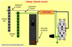 wiring 20 amp double receptacle circuit breaker 120 volt circuit rh pinterest com 120 volt wiring color code 120 volt wiring colors