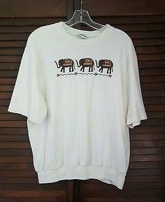 Women's Bonworth Ivory Elephant Short Sleeve Blouse Medium