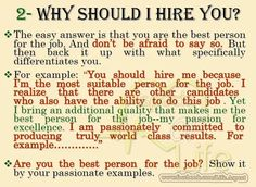"Answering, ""Why should I hire you?"""