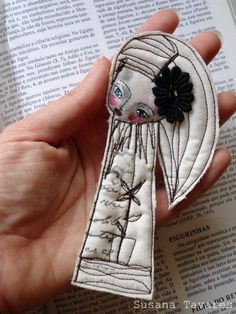 Art doll Brooch - Fabric art ooak wearable art. $22.00, via Etsy.