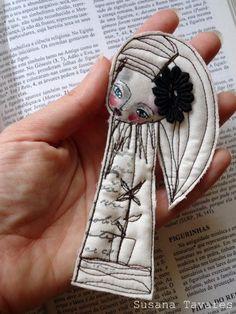 Art doll Brooch - Fabric art ooak wearable art. $22.00, via Etsy.