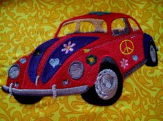 1967 Volkswagen Beetle Embroidered Quilt Block by tuesdayrose Retro Fabric, Floral Fabric, Crochet Car, Embroidered Quilts, Beetle Bug, Vera Bradley Backpack, Quilt Blocks, Volkswagen, Embroidery