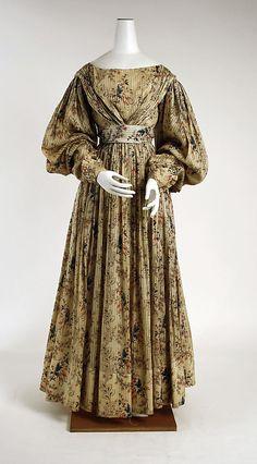 Dress - 1828-30, American, cotton