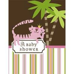 party planning decor decorative fun enjoy like yes happy birthday cute adorable solid easy cheap  celebrate event solid solids  children kids baby babies Queen of the Jungle Baby Shower Invitations - Girl Baby S... invite