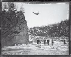 Amoskeag Ledge in Manchester, NH. 1930. Brrrrrrr. Another Manchester Landmark