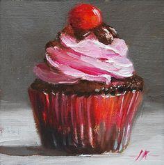 """Olieverfschilderij """"Roze crème cupcake"""" 10 x 10 cm linnen op paneel te koop via mijn blog of email mij Cupcake Painting, Cupcake Art, Food Painting, Painting & Drawing, Art Sketches, Art Drawings, Oil Pastel Art, Guache, Wow Art"""
