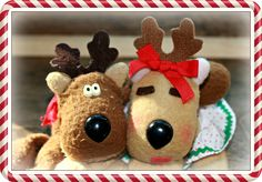 These cute little reindeer were from Jordan Marsh or Macy's almost 30 years ago.  My son was given the little boy reindeer from his great aunt when he was 9 months old.  I just found Ruddie a girlfriend this year.
