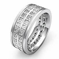Princess Diamond Men's Eternity Wedding Solid Band 9mm Ring 14k White Gold 3Ct