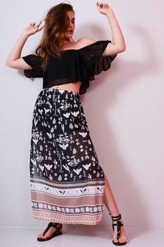 8bf096425b9 Lovemystyle Chiffon Maxi Skirt With Side Split