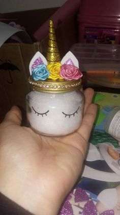 Make this cute unicorn jar out of an upcycled baby food jar. Then add glittery slime. Fun for the kids and great gift ideas. Make this cute unicorn jar out of an upcycled baby food jar. Then add glittery slime. Fun for the kids and great gift ideas. Baby Food Jar Crafts, Baby Food Jars, Crafts For Kids, Baby Jar Favors, Gift Jars, Unicorn Birthday Parties, Girl Birthday, Birthday Gifts, Birthday Board