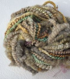 Special Hand Spun Textured Yarn ART YARN - Big Greyl.  Spinning knitting felting weaving by Pinkipunki on Etsy