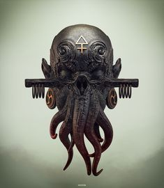 Beautiful Science Fiction, Fantasy and Horror art from all over the world. Cthulhu Tattoo, Cthulhu Art, Lovecraft Cthulhu, Call Of Cthulhu, Hp Lovecraft, Horror Themes, Monster Design, Masks Art, Horror Art