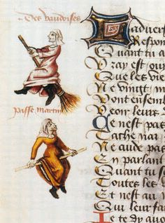 Marginalia of the earliest known illustrated example of a witch on a broomstick in the 1451 manuscript, Hexenflug der Vaudoises (Flight of the Witches), authored by Martin Le France (1410-1461).