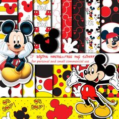 Mickey Mouse's Digital Papers-Free PNG Digital Clip Art, Mickey's Head & Hand, Instand Download Printable-Personal and small Commercial use.