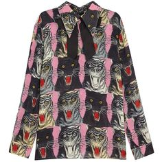 Gucci Tiger Face Printed Sablà Blouse - Size 10 ($1,025) ❤ liked on Polyvore featuring tops, blouses, bow blouse, rayon tops, pattern blouse, patterned tops and pink top