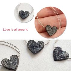 Love is all around - Natural Rough Diamond -Heart Drilled 1mm hole. Ready to wear. Use them as pendant or bracelet charms, they will surely take ur breath away. Convo us for color and size customization. Only on Gemsforjewels- Shop 55% off Store Wide!!