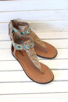 Minnetonka: Antigua Beaded Sandals {Taupe} | Footwear – The Fair Lady Boutique