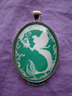 Under the Sea - Ariel and Flounder Silhouette Cameo Pendant Necklace
