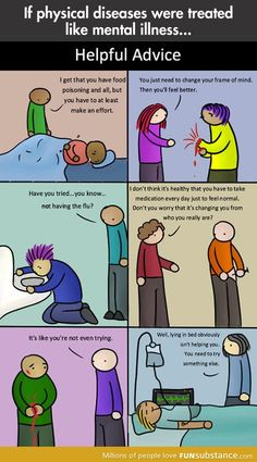 "Physical diseases vs. Mental illnesses This hits home. So few people get this! I'm actually sick, ok? I can't just ""be happy"""