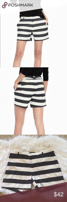 """{Banana Republic} Striped Shorts {Banana Republic} Striped Shorts. Size: 2 (I run between a 0 and 2 and these are big on me. Would likely fit size 2 to 4). New with tags still attached. 5"""" inseam. 97% cotton/3% spandex. Machine washable. Color: black and off white Banana Republic Shorts"""