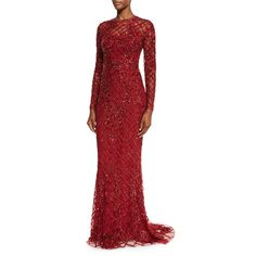 Zuhair Murad Long-Sleeve Illusion Lattice Gown (€9.930) ❤ liked on Polyvore featuring dresses, gowns, scarlet red, open back gown, long sleeve evening dresses, long sleeve dress, red evening gowns and long sleeve ball gowns