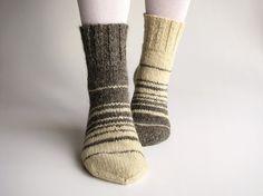 Asymmetrical Striped Hand Knitted Womens Woolen Socks  by milleta, €25.00