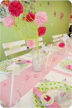 non-commercial princess party pink and green