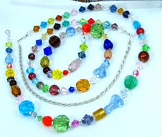 My New Fav - Faceted Multicolored Crystal Beaded Eyeglass Chain or ID Badge Lanyard by nonie615, $27.00