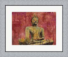 dcdbc11811e Golden Buddha by Dario Moschetta Framed Art Print Wall Picture Flat Silver  Frame 24 x 20