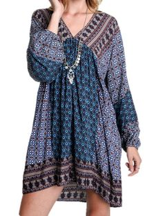 UMGEE Blue Open Back Cotton Boho Gypsy Hippie Peasant Patchwork Tunic Top Dress #UMGEE #PEASANTBACKTIETUNICTOP #CASUAL