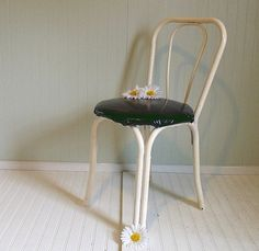 Vintage Metal Cafe Chair  Chippy White Paint with by DivineOrders, $45.00