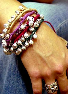 Thread bracelets with gypsy bells