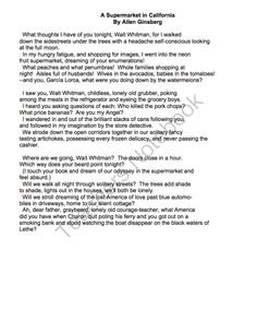 A Supermarket in California by Allen Ginsberg - Lessons, Analysis, & Writing from Mrs Scott's Clasroom on TeachersNotebook.com -  (14 pages)  - This lesson is about the poem A Supermarket in California by Allen Ginsberg. The file includes the following: * a mini-lesson about Allen Ginsberg * a mini-lesson about free verse and imagery * questions for students to analyze the poem * an activity for