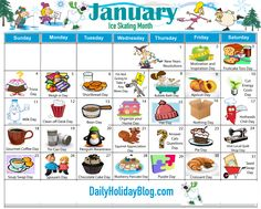 "Did you know that there is a holiday for everyday of the year. Nothing big, but they are fun little things to ""celebrate"". Here is a calendar of all the months. Though the months don… Obscure Holidays, Silly Holidays, Unusual Holidays, March Holidays, Random Holidays, Everyday Holidays, Special Day Calendar, January Calendar, Monthly Celebration"
