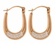 9ct Yellow Gold Oval with Crystal Creole Earrings | eternity