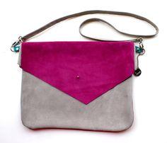 Color Blocked Suede Envelope Cross Body Bag